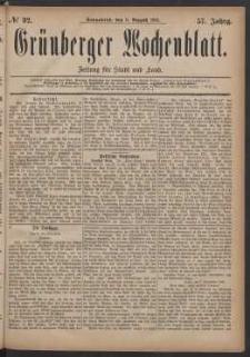 Grünberger Wochenblatt: Zeitung für Stadt und Land, No. 92. (6. August 1881)
