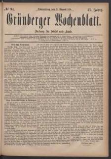 Grünberger Wochenblatt: Zeitung für Stadt und Land, No. 94. (11. August 1881)