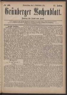 Grünberger Wochenblatt: Zeitung für Stadt und Land, No. 106. (8. September 1881)