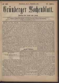 Grünberger Wochenblatt: Zeitung für Stadt und Land, No. 110. (17. September 1881)