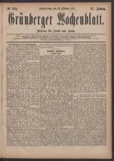 Grünberger Wochenblatt: Zeitung für Stadt und Land, No. 124. (20. Oktober 1881)