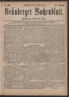 Grünberger Wochenblatt: Zeitung für Stadt und Land, No. 125. (22. Oktober 1881)