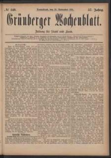 Grünberger Wochenblatt: Zeitung für Stadt und Land, No. 140. (26. November 1881)