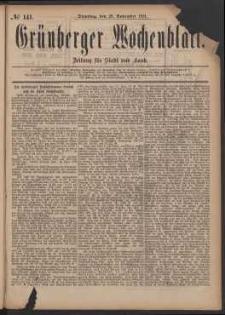 Grünberger Wochenblatt: Zeitung für Stadt und Land, No. 141. (29. November 1881)