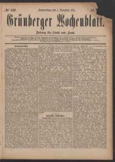 Grünberger Wochenblatt: Zeitung für Stadt und Land, No. 142. (1. December 1881)