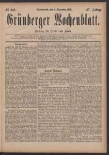 Grünberger Wochenblatt: Zeitung für Stadt und Land, No. 143. (3. December 1881)