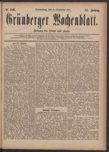 Grünberger Wochenblatt: Zeitung für Stadt und Land, No. 148. (15. December 1881)