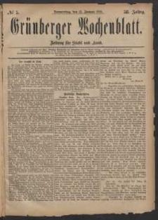 Grünberger Wochenblatt: Zeitung für Stadt und Land, No. 5. (12. Januar 1882)