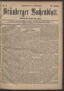 Grünberger Wochenblatt: Zeitung für Stadt und Land, No. 6. (14. Januar 1882)