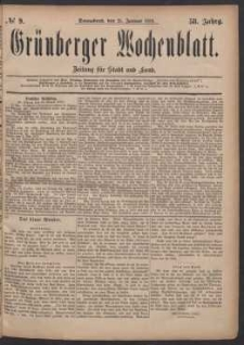 Grünberger Wochenblatt: Zeitung für Stadt und Land, No. 9. (21. Januar 1882)