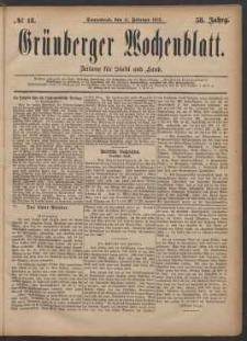 Grünberger Wochenblatt: Zeitung für Stadt und Land, No. 18. (11. Februar 1882)