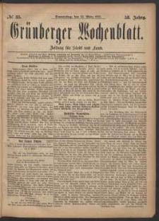 Grünberger Wochenblatt: Zeitung für Stadt und Land, No. 35. (23. März 1882)