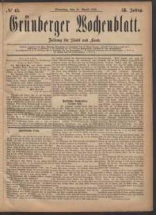 Grünberger Wochenblatt: Zeitung für Stadt und Land, No. 45. (18. April 1882)