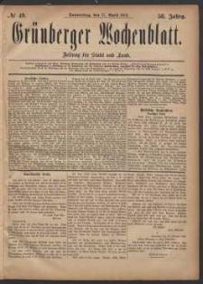 Grünberger Wochenblatt: Zeitung für Stadt und Land, No. 49. (27. April 1882)