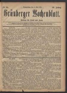 Grünberger Wochenblatt: Zeitung für Stadt und Land, No. 55. (11. Mai 1882)