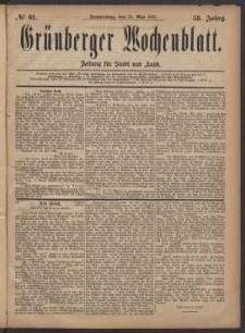 Grünberger Wochenblatt: Zeitung für Stadt und Land, No. 61. (25. Mai 1882)
