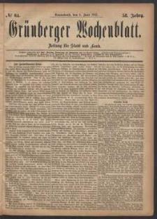 Grünberger Wochenblatt: Zeitung für Stadt und Land, No. 64. (3. Juni 1882)