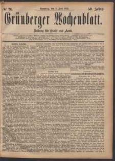 Grünberger Wochenblatt: Zeitung für Stadt und Land, No. 76. (2. Juli 1882)