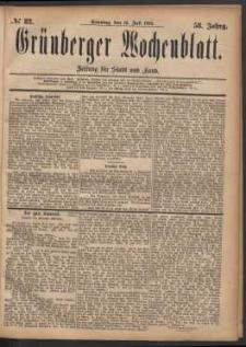 Grünberger Wochenblatt: Zeitung für Stadt und Land, No. 82. (16. Juli 1882)
