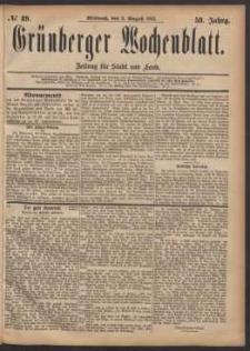Grünberger Wochenblatt: Zeitung für Stadt und Land, No. 89. (2. August 1882)