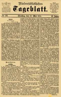 Niederschlesisches Tageblatt, no 122 (Dienstag, den 27. Mai 1884)
