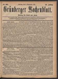 Grünberger Wochenblatt: Zeitung für Stadt und Land, No. 105. (8. September 1882)