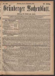 Grünberger Wochenblatt: Zeitung für Stadt und Land, No. 112. (24. September 1882)