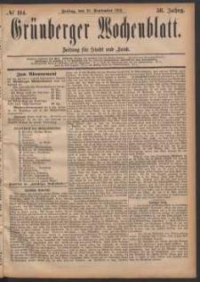 Grünberger Wochenblatt: Zeitung für Stadt und Land, No. 114. (29. September 1882)