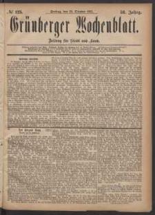 Grünberger Wochenblatt: Zeitung für Stadt und Land, No. 123. (20. October 1882)