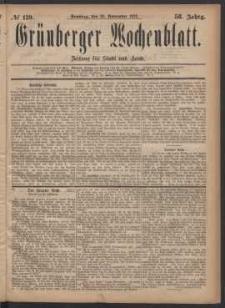 Grünberger Wochenblatt: Zeitung für Stadt und Land, No. 139. (26. November 1882)