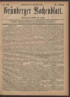 Grünberger Wochenblatt: Zeitung für Stadt und Land, No. 142. (3. December 1882)