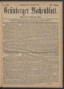 Grünberger Wochenblatt: Zeitung für Stadt und Land, No. 143. (6. December 1882)