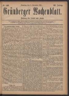 Grünberger Wochenblatt: Zeitung für Stadt und Land, No. 148. (17. December 1882)