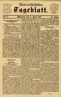 Niederschlesisches Tageblatt, no 87 (Mittwoch, den 15. April 1885)