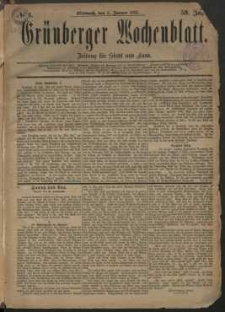 Grünberger Wochenblatt: Zeitung für Stadt und Land, No. 1. (3. Januar 1883)