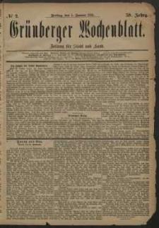 Grünberger Wochenblatt: Zeitung für Stadt und Land, No. 2. (5. Januar 1883)