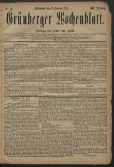 Grünberger Wochenblatt: Zeitung für Stadt und Land, No. 4. (10. Januar 1883)