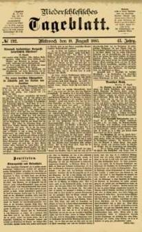 Niederschlesisches Tageblatt, no 192 (Mittwoch, den 19. August 1885)