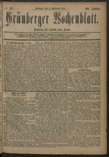 Grünberger Wochenblatt: Zeitung für Stadt und Land, No. 17. (8. Februar 1884)
