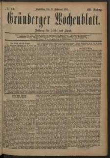 Grünberger Wochenblatt: Zeitung für Stadt und Land, No. 18. (10. Februar 1884)