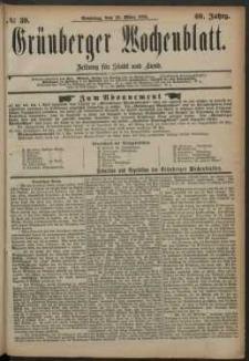 Grünberger Wochenblatt: Zeitung für Stadt und Land, No. 39. (30. März 1884)