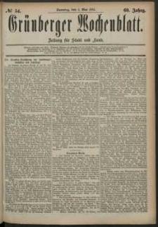 Grünberger Wochenblatt: Zeitung für Stadt und Land, No. 54. (4. Mai 1884)