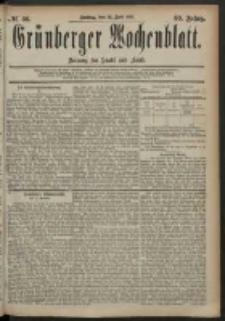 Grünberger Wochenblatt: Zeitung für Stadt und Land, No. 86. (18. Juli 1884)