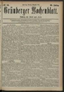 Grünberger Wochenblatt: Zeitung für Stadt und Land, No. 98. (15. August 1884)