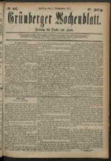 Grünberger Wochenblatt: Zeitung für Stadt und Land, No. 107. (5. September 1884)