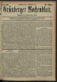 Grünberger Wochenblatt: Zeitung für Stadt und Land, No. 108. (7. September 1884)