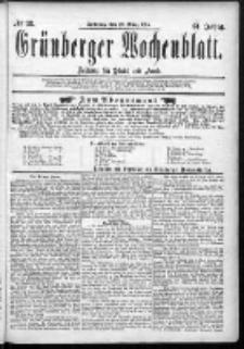 Grünberger Wochenblatt: Zeitung für Stadt und Land, No. 38. (29. März 1885)