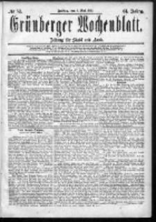 Grünberger Wochenblatt: Zeitung für Stadt und Land, No. 52. (1. Mai 1885)