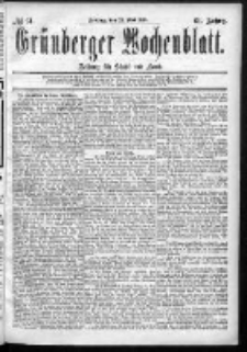 Grünberger Wochenblatt: Zeitung für Stadt und Land, No. 61. (22. Mai 1885)