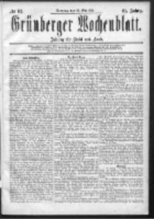 Grünberger Wochenblatt: Zeitung für Stadt und Land, No. 62. (24. Mai 1885)